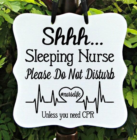 Shhh Sleeping Nurse Sign, Do Not Disturb, Front Door Sign, Door Sign, Door Hanger, Sleeping Sign, Night Shift Nurse, Nurse Gift