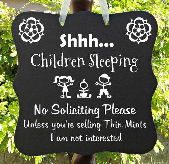Children Sleeping Sign, No Soliciting, Thin Mints, Door Hanger