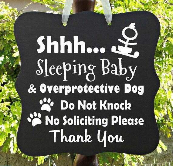 Sleeping Baby Sign, Overprotective Dog, Do Not Knock, No Soliciting, Thank You, Baby Sleeping Sign, Door Hanger