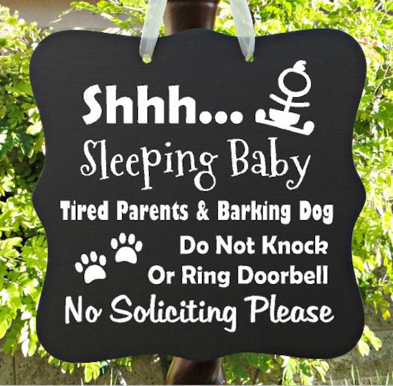 Sleeping Baby Sign, Tired Parents, Barking Dog, No Soliciting, Baby Sleeping Sign, Door Hanger