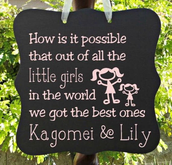 Little Girls Sign, Personalized Sign, Kids Decor, Door Hanger, Sisters, Twins, Girl Sign, Wall Art, Baby Sign, Child Name Sign