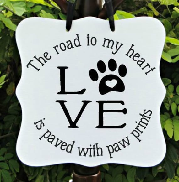 LOVE Sign, Dog Sign, Puppy Sign, Paw Prints, Pet Sign, Home Decor, Wall Art