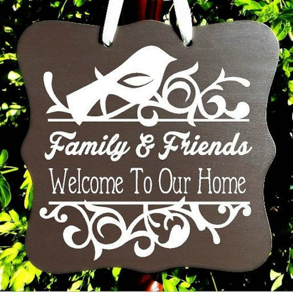 Welcome To Our Home Sign, Family Sign, Home Decor, Wall Art, Door Hanger, Front Entry, Housewarming Gift, Welcome Sign