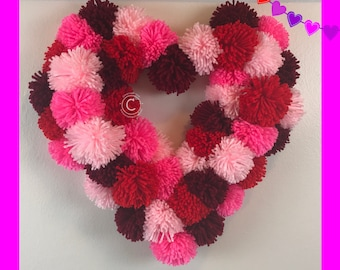 Beautiful Heart Pom pom Wreath for Valentine's Day or Any Occasion
