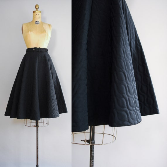 1950s Dahlia Skirt | Mid Century Quilted Circle Sk