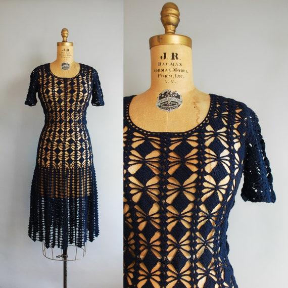 1970s Sylphide Dress | Vintage Crochet Net Dress