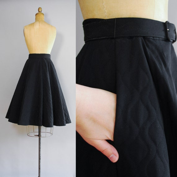 1950s Dahlia Skirt   Mid Century Quilted Circle S… - image 3