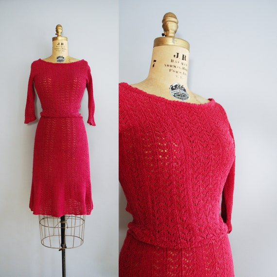 1950s Fruit de Bois Dress • Mid century knit dress