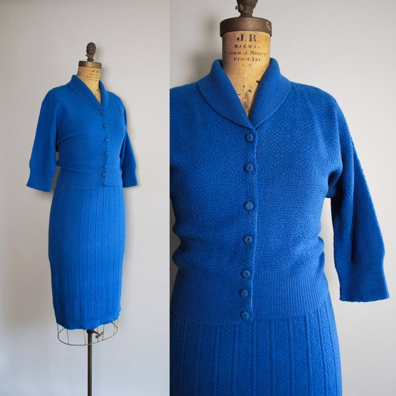 1950s Cobalt Sweater Set | Mid century knit dress