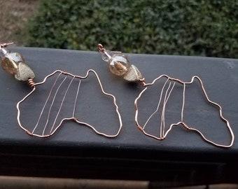Africa Earrings wire wrap- Glass