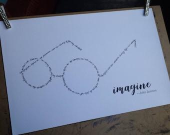 John Lennon Imagine Handwritten Lyric Silhouette