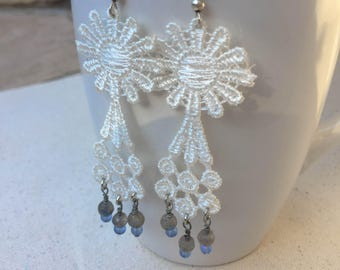 Starlace, Lace Dangle Earrings, Labradorite and Lace Earrings