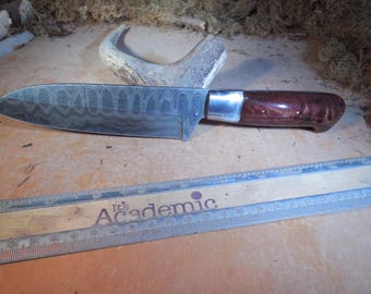 Damascus Santoku Chef and Camping Knife Burmese Sal wood handle.