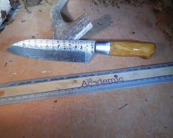 Damascus Santoku Chef and Camping Knife Yew wood handle.