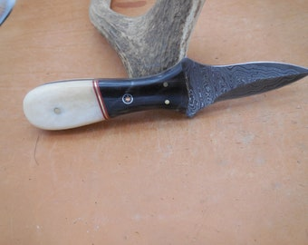 Custom Damascus Oyster/Clam Shucker with  Tri Colored Handle and Mosaic pin