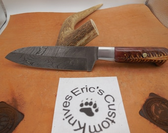 Damascus Santoku Chef and Camping Knife Pinecone Resin handle and Mosaic pin