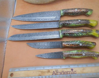 5 pc. Damascus Pinecone in resin kitchen knife set with mosaic pins