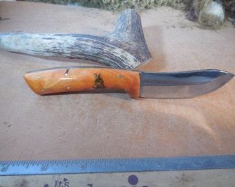 Eric's Oregon Elk Skinning Knife Orange Stabilized  Buckeye Burl wood Handles