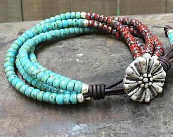 Beaded Wrap Bracelet* Picasso Seed Bead Leather Wrap Bracelet* Seed Bead Bracelet* Beaded Bracelet* Boho Wrap Bracelet*