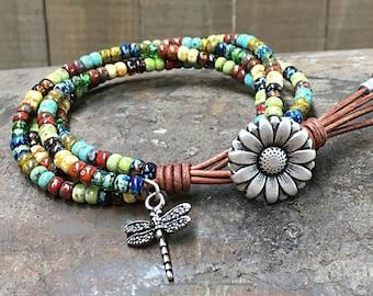 Seed Bead Leather Wrap Bracelet/ Multi-color Beaded Wrap Bracelet/ Gift For Her/ Bohemian Wrap Bracelet/ Boho Leather Wrap Bracelet.