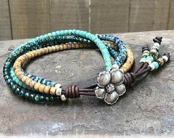 Multi-color Seed Bead Leather Wrap Bracelet For Women/ Beaded Wrap Bracelet/ Boho Bracelet/ Bohemian Bracelet/ Gift For Her.