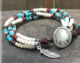 Native American Wrap Bracelet/ Beaded Wrap Bracelet/ Seed Bead Bracelet/ Boho Bracelet/ Southwestern Jewelry/ Bohemian Leather Bracelet.