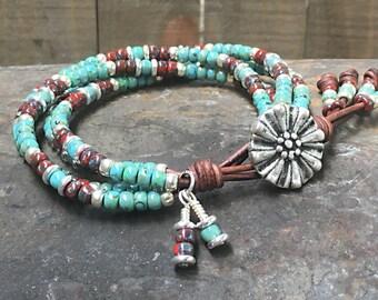 Seed Bead Leather Wrap Bracelet/ Boho Wrap Bracelet/ Gift For Her/ Bohemian Wrap Bracelet/ Four Strand Bracelet/ Beaded Wrap Bracelet.