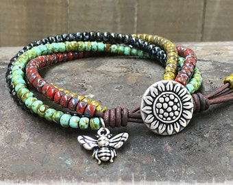 Sunflower Seed Bead Leather Wrap Bracelet/ Sunflower Wrap Bracelet/ Seed Bead Bracelet/ Beaded Leather Wrap/ Boho Leather  Bracelet.