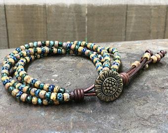 Seed Bead Bracelet/ Sunflower Wrap Bracelet/ Beaded Leather Wrap Bracelet/ Boho Leather Wrap Bracelet/ Bohemian Bracelet.