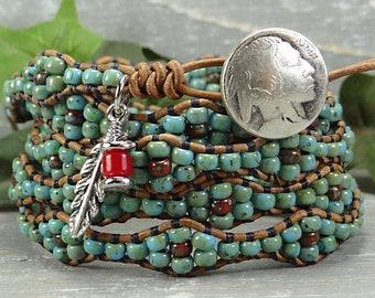 Seed Bead Leather Wrap Bracelet* Southwestern Leather Wrap Bracelet* Beaded Leather Wrap Bracelet* Boho Leather Wrap Bracelet*