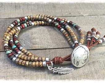 Leather Bracelet For Women Seed Bead Wrap Bracelet Native American Style Boho Jewelry *