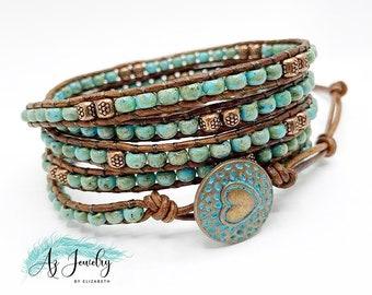 5 rows Leather Wrap Bracelet Gypsy seed beads Bracelet multi colors bead wrap Bracelet boho bracelet Yoga bracelet bead jewelry SL-0393