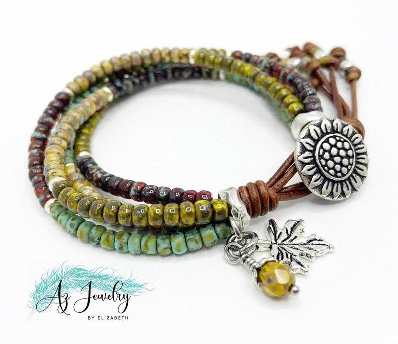 Beaded Wrap Bracelet/ Sunflower Bracelet/ Seed Bead Leather image 0