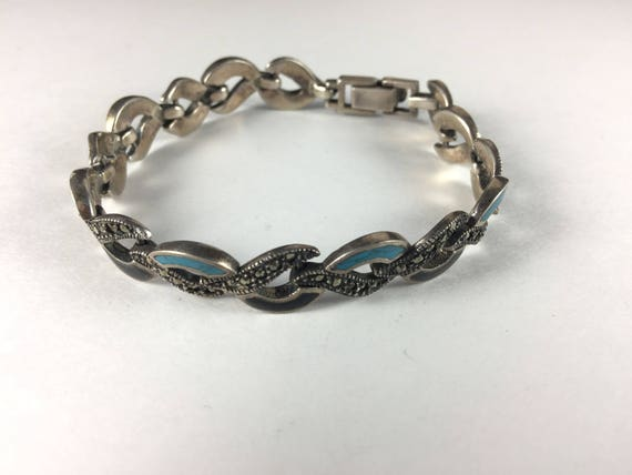 Onyx Turquoise 10276 Marcasite and Sterling Silver Link Bracelet With Alternating Links of Turquoise and Onyx