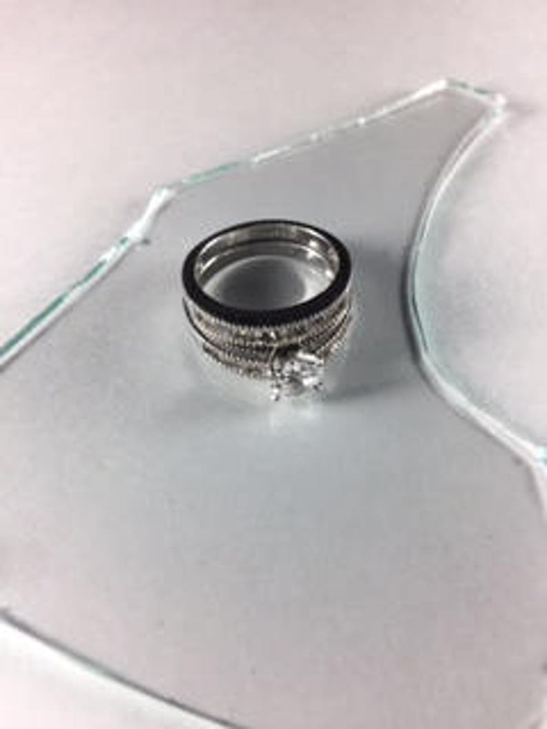 9 Cubic Zirconia Silver Engagement Ring and Wedding Band Set with Solitaire and Small Clear CZ Stones Sz