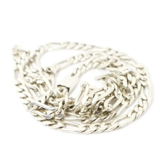 Thin Figaro Style Sterling Silver Chain Necklace,