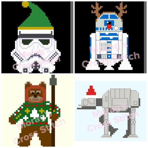 Christmas Bundle 4 Star Wars Cross Stitch Patterns R2D2 AT AT Ewok Stormtrooper