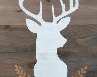 Rustic Cabin Wood Pallet Mountain Landscape Deer Silhouette