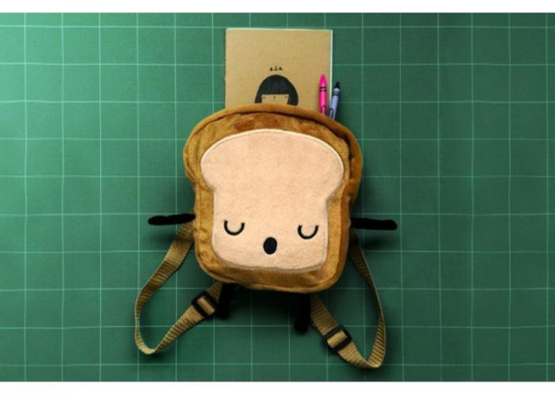 Mini backpackBack to school fabric backpack Mrs bread slice image 0