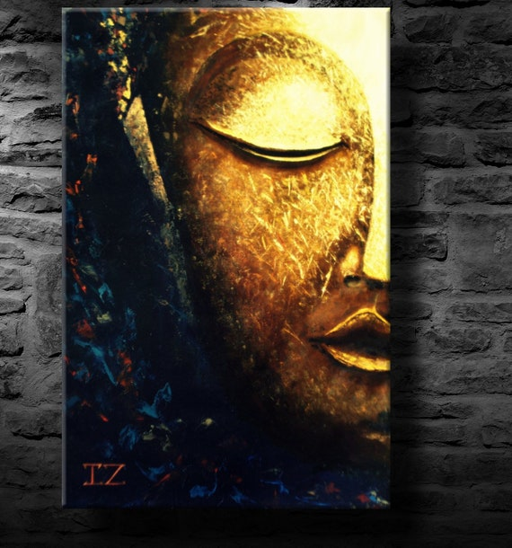 Oil Painting Modern Art Glowing Buddha Canvas Etsy