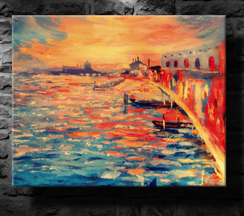 Oil Painting Modern Art Venice Canvas Art Paintings On Canvas Wall Art Painting Abstract Painting Wall Painting White Blue