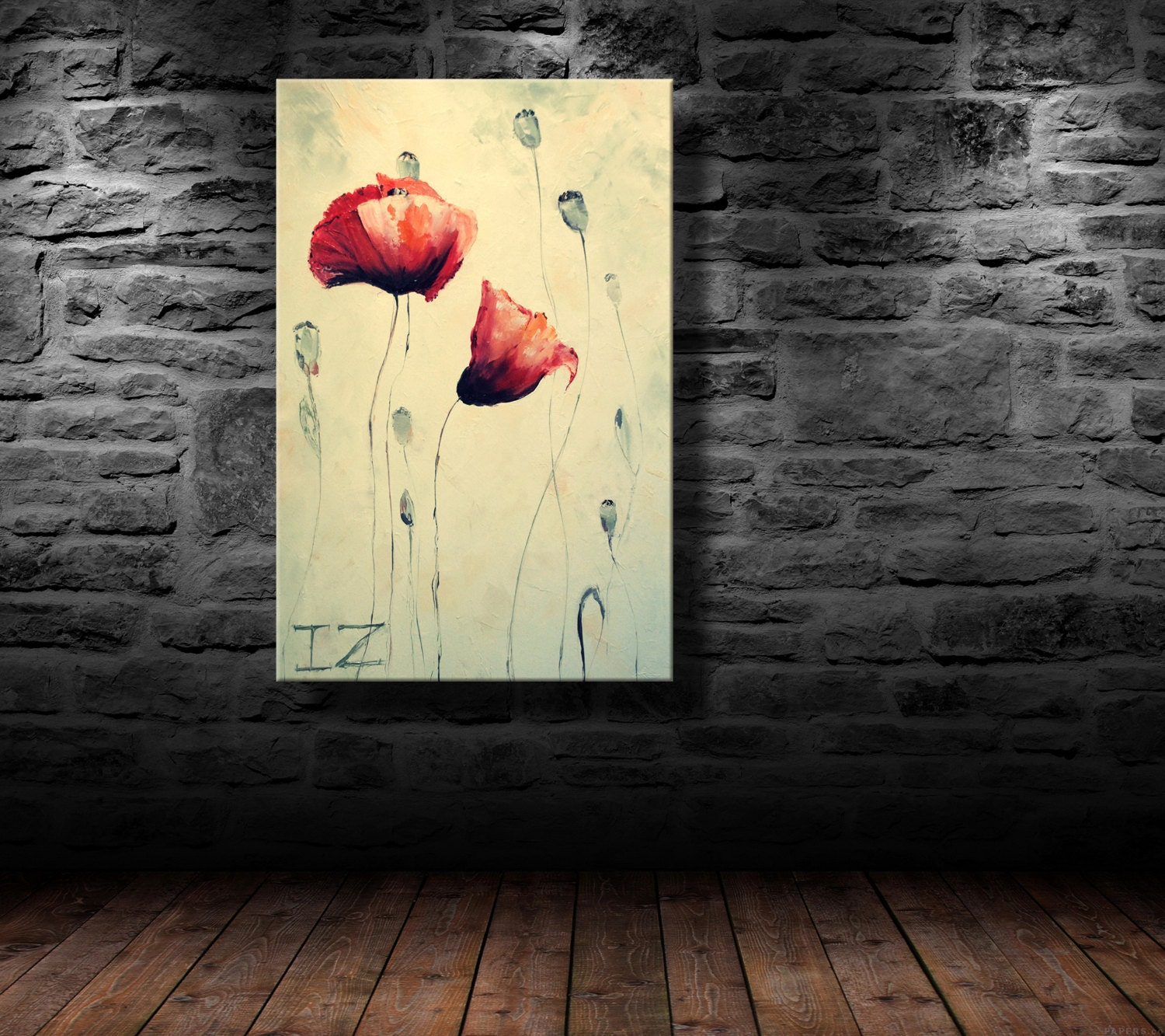 oil painting modern art Two poppies canvas art | Etsy
