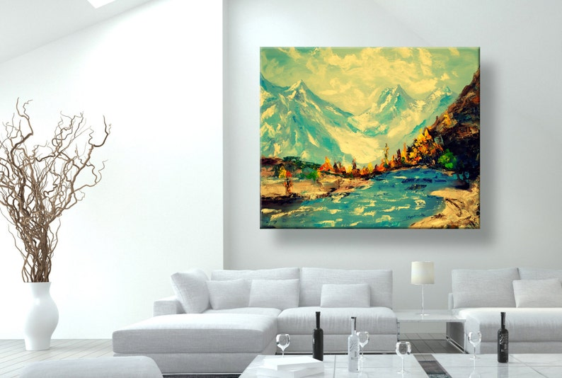 Beau Oil Painting, Wall Art, Modern Art, Mountains Of Nepal, Canvas Art,Home  Décor, Painting, Wall Decor, Abstract Painting, Wall Painting, Blue