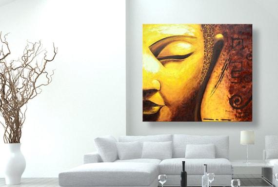 Dipinti Murali E Pittura Ad Ago : Pittura a olio dipinti su tela golden buddha etsy
