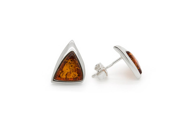 Amber Sterling Silver Triangular Stones Classic Earrings