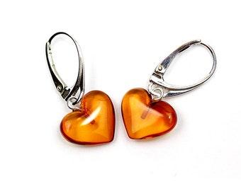 Genuine Natural Baltic Amber Dangle Leverback Earrings Hearts