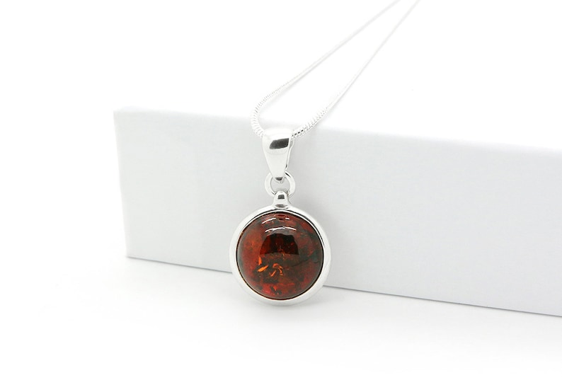 Cognac Baltic Amber Round Pendant Necklace