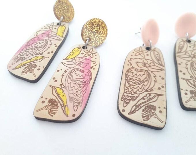 Australian Earrings - Wood earrings - Kookaburra