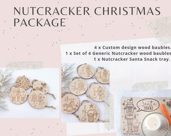 Nutcracker Christmas decorations. Personalised Christmas baubles.