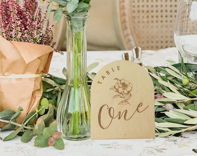 Wild Beauty Wood Table numbers - Rustic Flowers Wood Table number